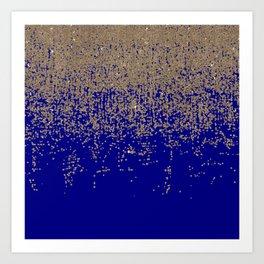 Gold Glitter Cobalt Blue Gradient Ombre Confetti Art Print