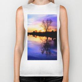 River in flood at sunset Biker Tank