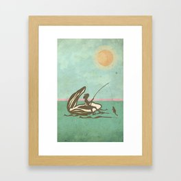Boy fishing from Oyster Shell Framed Art Print