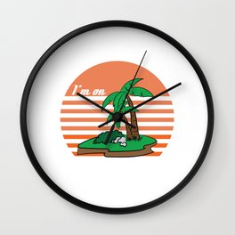 Cute Tropical Island With Palm Trees And Island Time Hawaiian Party Quote T-shirt Design Sea Wave Wall Clock