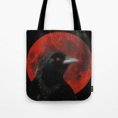 Crow And The Red Glow Moon Tote Bag