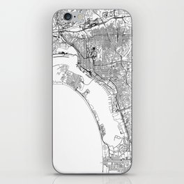 San Diego White Map iPhone Skin