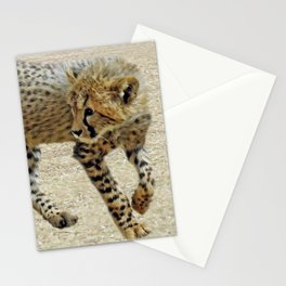 Baby cheetah learning to stalk Stationery Cards