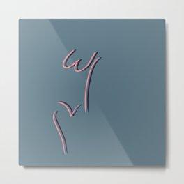 W & V Woman (Farmhouse Blue & Rose) Metal Print