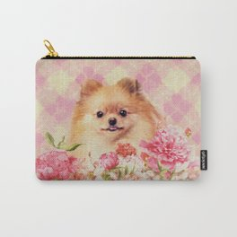Cute Pomeranian German Spitz wiht Flowers Carry-All Pouch