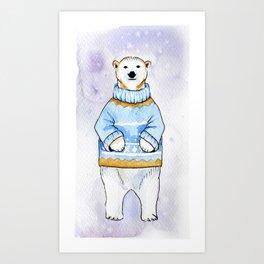 Polar bear in sweater Art Print