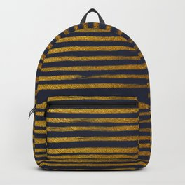 Squiggly Gold Foil Brush Stroke Hand-Painted Lines on Midnight Navy Blue Backpack