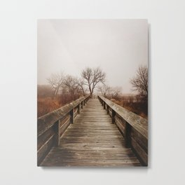 Foggy Nebraska Bridge Metal Print