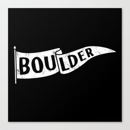 Boulder Colorado Pennant Flag B&W // University College Dorm Room Graphic Design Decor Black & White Canvas Print