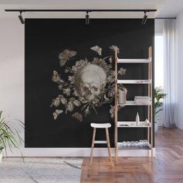 BLACK GOTHIC FLORAL SKULL Illustration Wall Mural