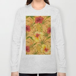 Leave And Flowers Pattern Long Sleeve T-shirt