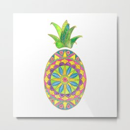 Pineapple Mandala Metal Print