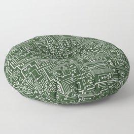 Circuit Board // Green & Silver Floor Pillow