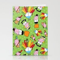 thanksgiving Stationery Cards featuring Thanksgiving Crew by Pig & Pumpkin