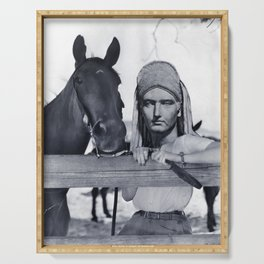 Statue Woman and Her Horse Serving Tray