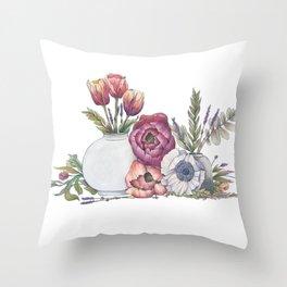 Floral Portrait Throw Pillow