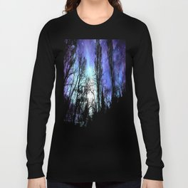 Black Trees Periwinkle Blue Lavender SPACE Long Sleeve T-shirt
