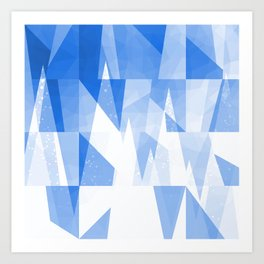 Abstract Blue Geometric Mountains Design Art Print