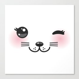 Kawaii funny cat with pink cheeks and winking eyes on white background Canvas Print