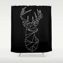 Geometric Stag (White on Black) Shower Curtain