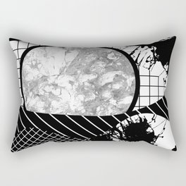 Eclectic Black And White - Black and White Abstract Patchwork Textured Design Rectangular Pillow