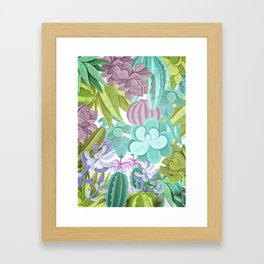 Tropical Cactus Pattern Framed Art Print