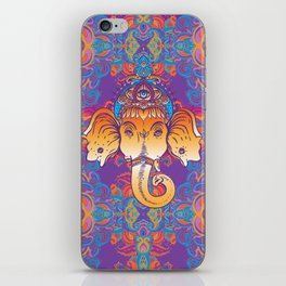 Hindu Lord Ganesha over ornate colorful mandala.  iPhone Skin