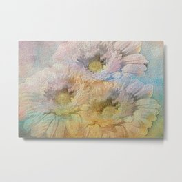 Soft Painted Rainbow Daisies Abstract Metal Print