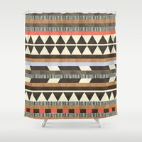 phone Shower Curtains featuring DG Aztec No.1 by Dawn Gardner
