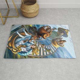 Steampunk Alice in Wonderland Teacups Rug