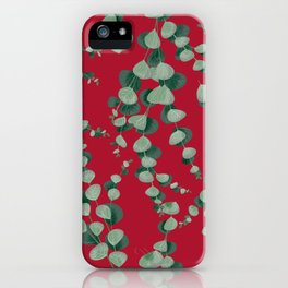 Eucalyptus leaves in red iPhone Case