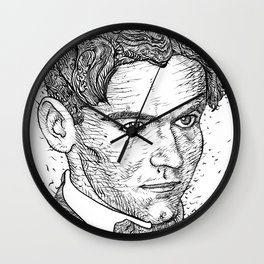 FEDERICO GARCIA LORCA ink portrait Wall Clock