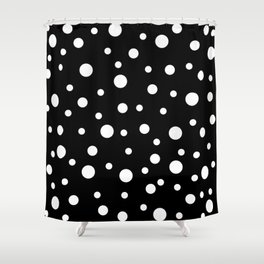 White Dots on Black 02 Shower Curtain