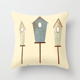 Birdy Birdhouse Throw Pillow