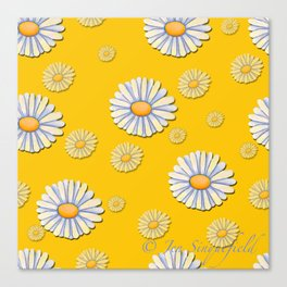 Tossed White Daisies Yellow Background Canvas Print