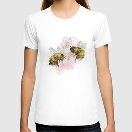Watercolour Bees Cute Nursery Wall Art Print Illustration T-shirt