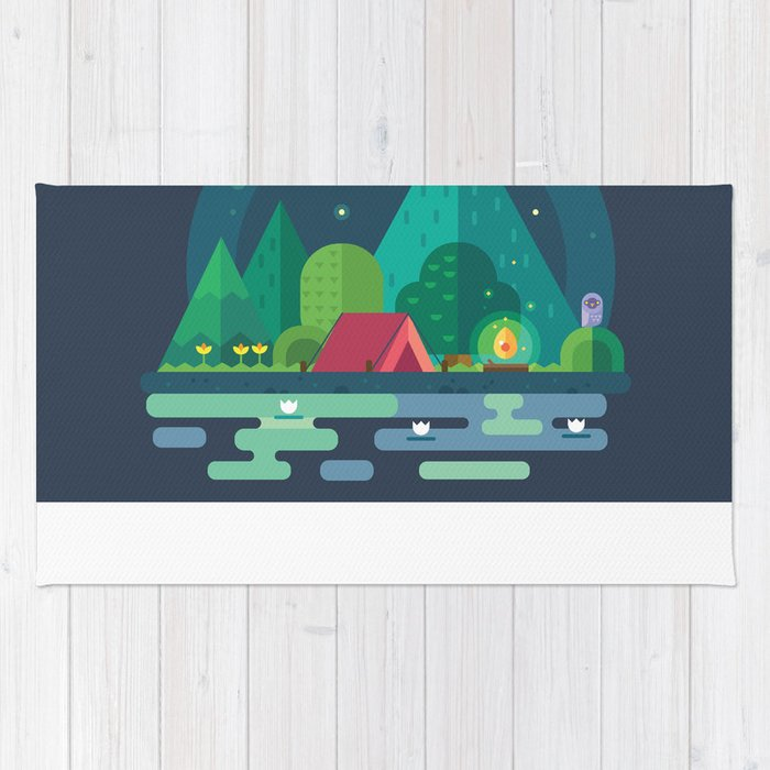 Night camping in mountains Rug