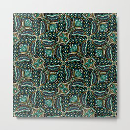 Bohemian Folkart Floral - Indigo, Turquoise & Burnt Red Flower Pattern with Folky Feel Metal Print