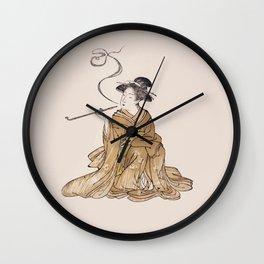Vintage Oriental Antique Japan Smoking Lady Wall Clock