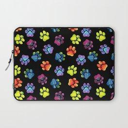 Black Rainbow Paw Print Pattern Laptop Sleeve