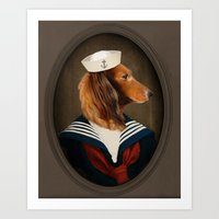 charli xcx Art Prints featuring Doxie Dachshund Art - Sailor Charli by The Lonely Pixel