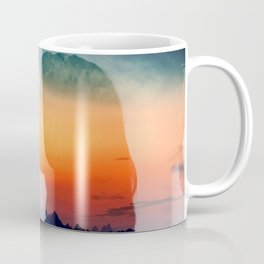 Stunning mountain sunset double exposure Coffee Mug