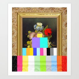 A Painting of Flowers With Color Bars Art Print