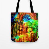 meditation Tote Bags featuring  Meditation by shiva camille
