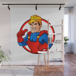 Superhero handyman in circle Wall Mural