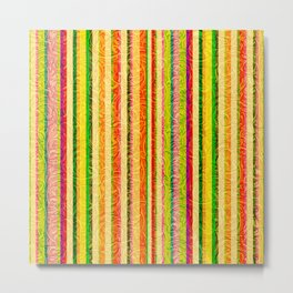Colorful Stripes and Curls Metal Print