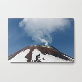 Top of volcanic cone, fumaroles activity of volcano, steam and gas emissions from crater Metal Print