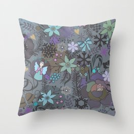 Colorful grey xmas pattern Throw Pillow