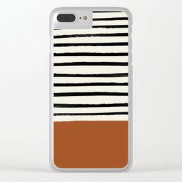Burnt Orange x Stripes Clear iPhone Case