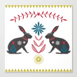 Folk Hares Canvas Print